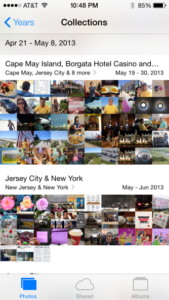 Nice auto collections of pictures you take according to locations. I found this very useful when I was looking for that embarrassing pic I took at that place.