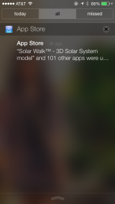 New notification center. Also this screenshot shows auto updating of AppStore apps. A huge advantage to users.