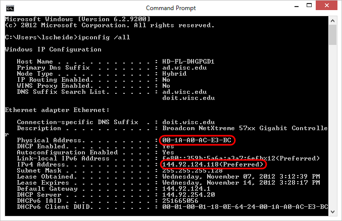 ipconfig results